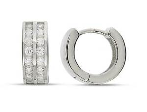 Genuine Sterling Silver Huggies Earrings Earrings 15mm kwVsUQj