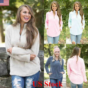 US-Womens-Jumper-Tops-Long-Sleeve-Zip-Up-Fleece-Loose-Ladies-Sweater-Blouse-Top