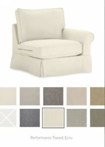 Details About Pottery Barn Slipcover / Comfort Roll Right Arm Chair / Box  Edge ECRU Perf Twd