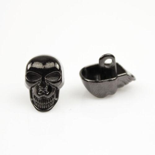 12 Pcs Novelty Skull Metal Shank Button Sewing Embellishments balck gold