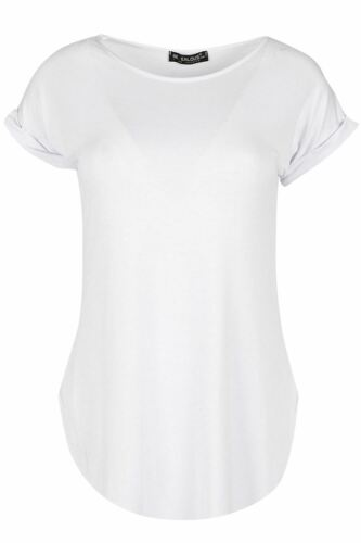 New Womens Ladies Round Neck Curved Hem Bonjour Turn Up Sleeve T-Shirt Tee Top