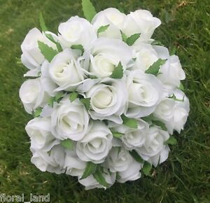 Silk artificial white rose roses bunch wedding bouquet bouquets fake image is loading silk artificial white rose roses bunch wedding bouquet mightylinksfo