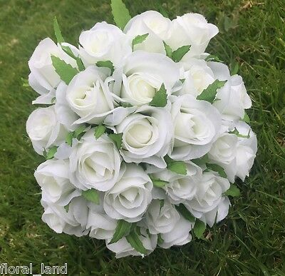 Silk Artificial White Rose Roses Bunch Wedding Bouquet Bouquets Fake Flowers
