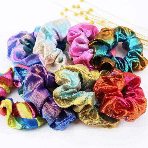 Colorful Elastic Bronzing Hair Rope Glitter Ponytail Holder Hairbands Scrunchie