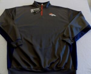 Denver-Broncos-Quarter-Zip-Long-Sleeve-Pullover-3XL-Charcoal-Cool-Logos-NFL