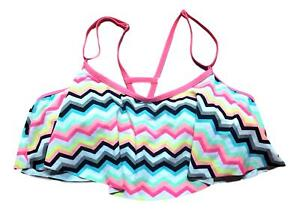 So-Size-XS-S-M-L-XL-Pink-White-Black-Ruffle-ZigZag-Print-Strappy-Bikini-Swim-Top