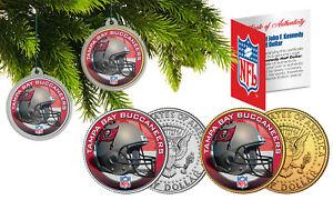 TAMPA BAY BUCANEERS Colorized JFK Half Dollar 2-Coin Set NFL Christmas Ornaments