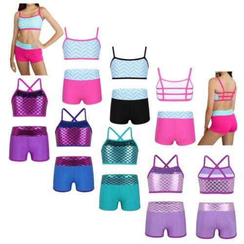 Girls Fitness Crop Top+Bottoms Set Ballet Gym Outfit Kids Stage Show Dance Wear