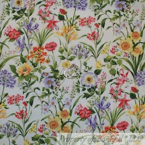 BonEful-Fabric-FQ-Cotton-Quilt-White-Pink-Orange-Yellow-Wild-Flower-Green-Leaf-S