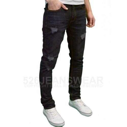 BNWT Soulstar Mens Designer Distressed Ripped Slim Fit Straight Leg Jeans