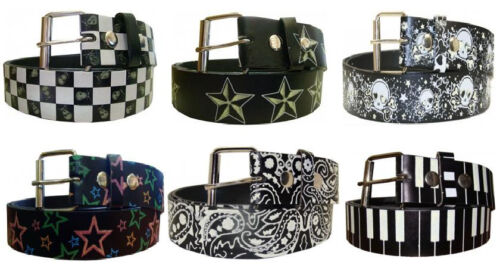 Stars Skulls Paisley Glow In The Dark Printed Leather Belt w// Removable Buckle