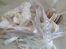 BAG OF RIBBONS AND LACE - 15 METRES OF WHITES, SILVER & GREYS WITH PEARLS