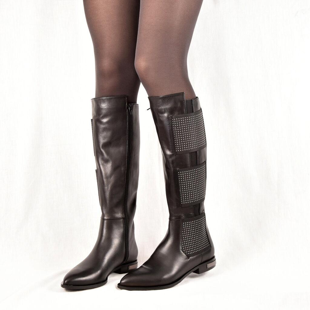Conhpol señora botas botines botas elegante negro de cuero nuevo 36-40