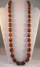 Antique VTG Baltic Amber Barrel Round 14K Gold Bead Necklace~29 Inch~96 Grams