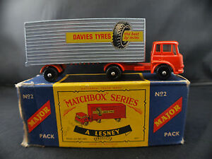 Matchbox Major Series N ° M2 Camion Remorque York Freightmaster Davies Pneus Rare
