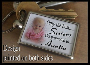 Metal keyring key fob Personalised gift on this day you became my Auntie.