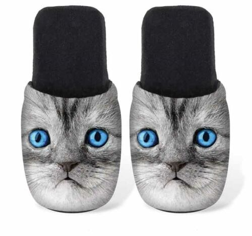 Betz Damen Jersey Hausschuhe Pantoffel Pantoletten KATZE mit blauen Augen
