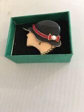 Brooch Ladies Head With 1940's Type Black Hat