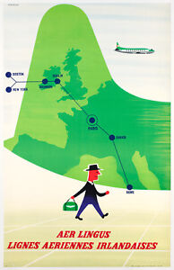 Affiche-Originale-T-Eckersley-AER-LIngus-Irlande-Aviation-1960