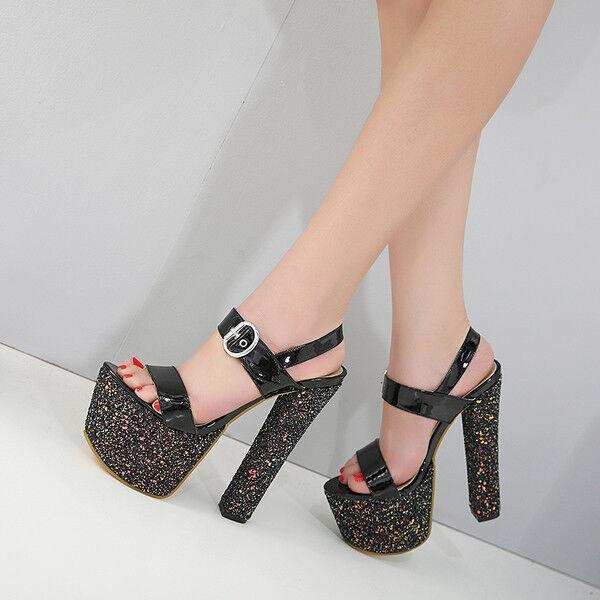 sandali tacco quadrato 16 cm eleganti nero nero nero glitter plateau simil pelle 9759 fe538c