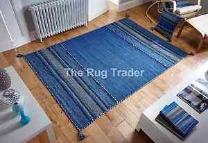 Kelim-Ethnique-Style-tapis-Bleu-en-diverses-tailles-tapis-et-housse-coussin