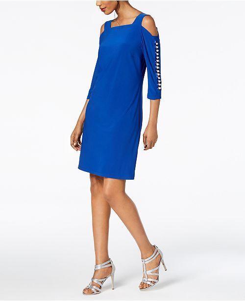 da43b4c94e2f MSK Imitation-pearl Cold-shoulder Dress Size XL # 1a 483 BLM for ...