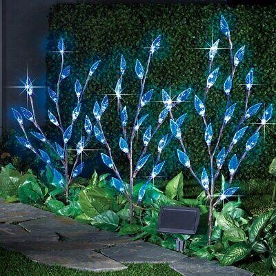 Set Of 3 Solar Powered Blue Leaf Branch W 60 Led Garden Stakes Ebay