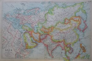 1919-MAP-ASIA-amp-EUROPE-ARABIA-PERSIA-TURKEY-CHINA-JAPAN-TIBET-TURKISTAN-INDIA