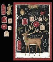 Christmas Peace Deer Quilt Top Wall Panel Fabric Cotton Springs Owl Holiday