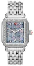 NEW Michele Large Deco Diamond Grey Mosaic Watch MW06T01A1977 Stainless Steel