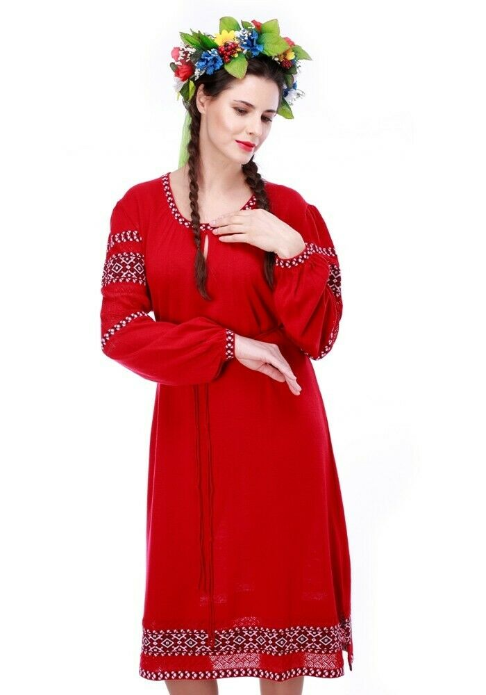 Ukrainian Women's Dress Embroidery Vyshyvanka Textile 3 colors