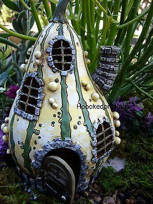 Miniature Fairy Garden Striped Gourd House Faerie  Gnome Door opens GO 16432