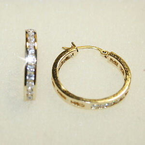 Diamond-Alternatives-Channel-Inside-Out-Hoop-Earrings-14k-Yellow-Gold-Over-925SS