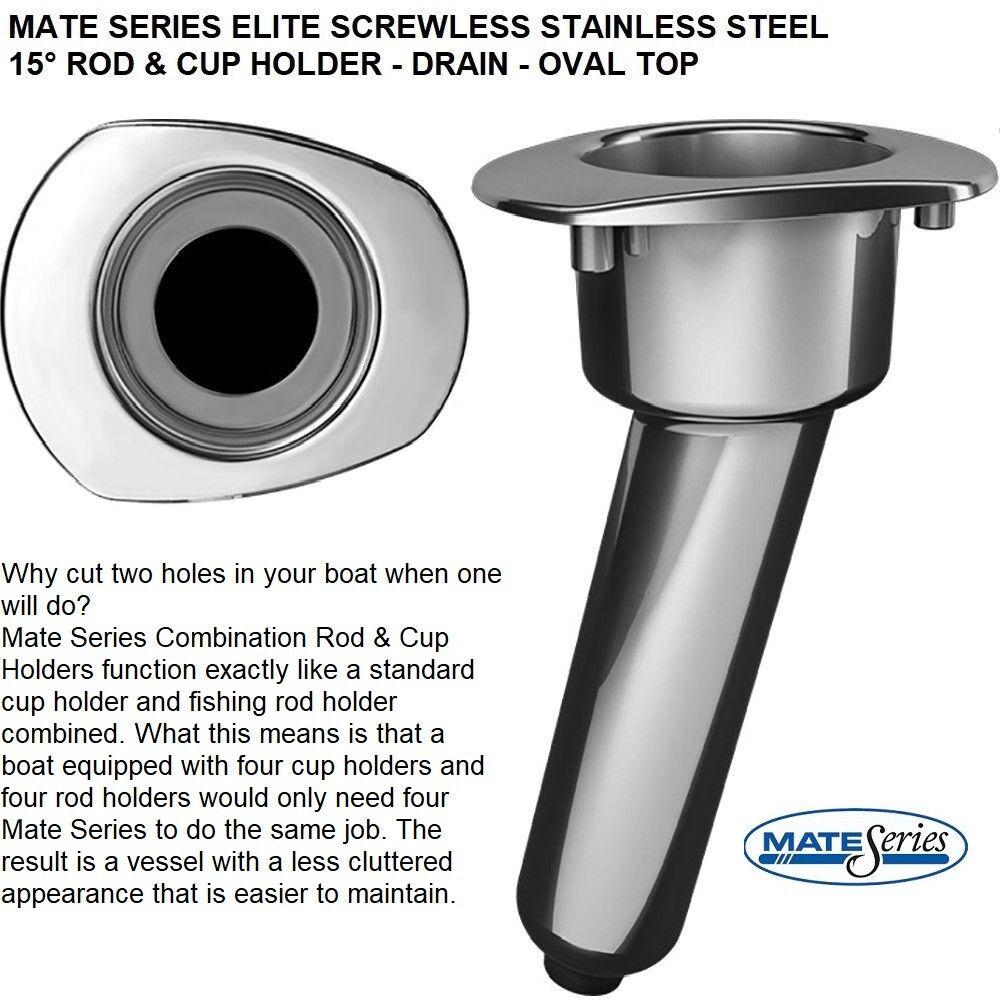 MATE SERIES ELITE SCREWLESS STAINLESS STEEL 15° ROD & CUP HOLDER  DRAIN