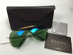 562a379cc2c Image is loading NWT-GUCCI-Unisex-Bamboo-Aviator-Sunglasses-Green-Lens-