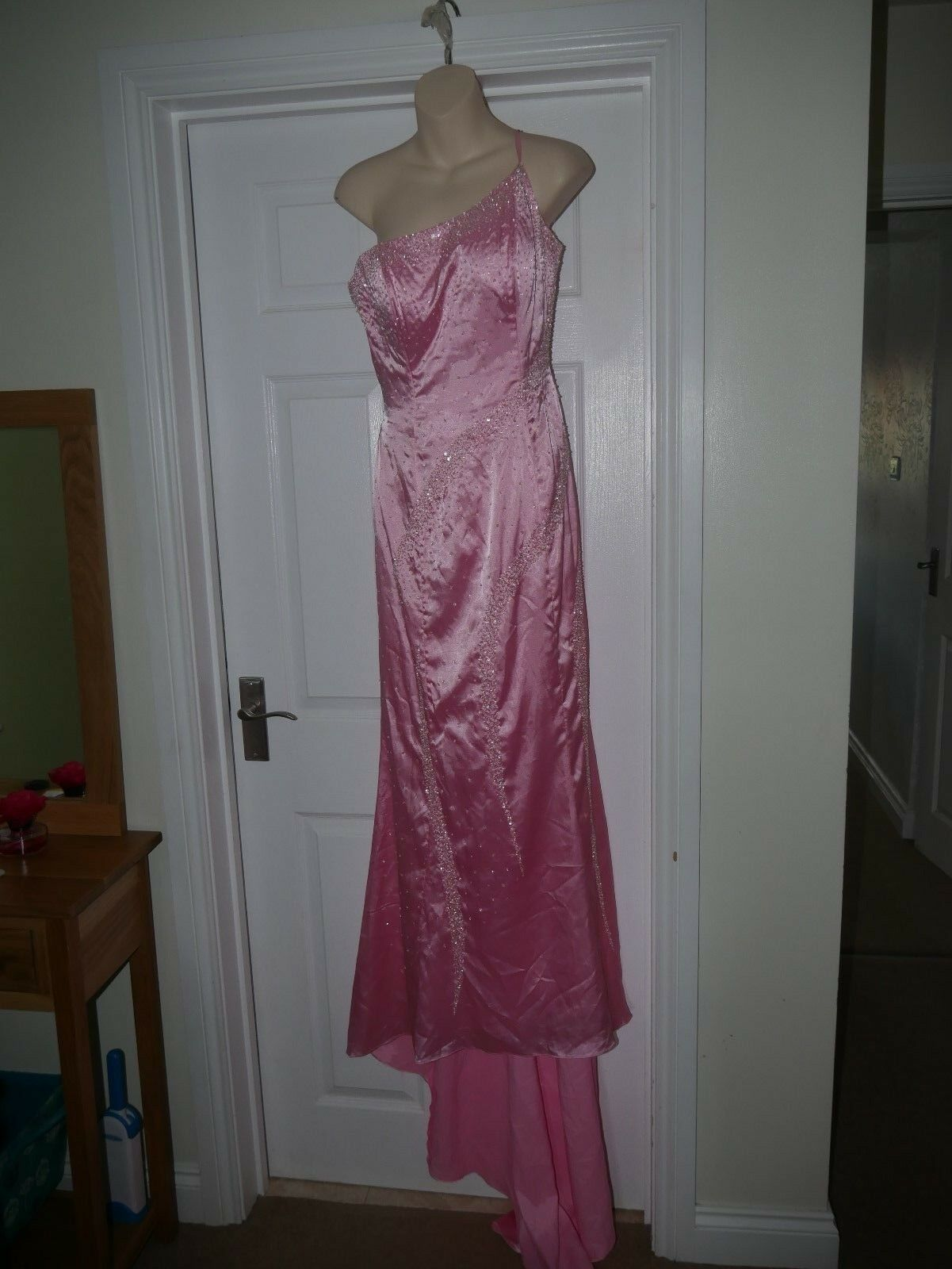 Ladies Pink Beaded Prom  Ball Gown Size 10 Bridesmaid Dress Fishtail Hem