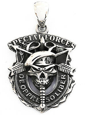 U.S. ARMY SPECIAL FORCE SKULL GREEN BERET STERLING 925 SILVER MILITARY PENDANT