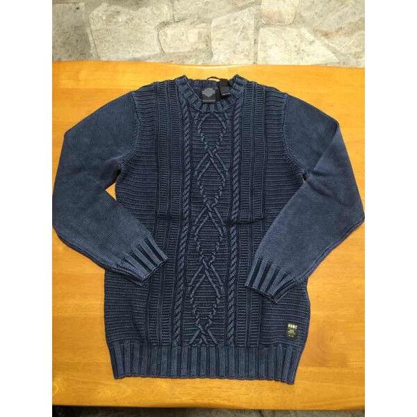Genuine Harley-Davidson Mens Cable Knit Acid Wash Knit bluee Long S