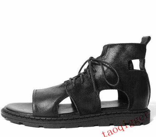Lace Up Men/'s Open Toe Hollow Out Roman Sandals Beach High Top leather Sandals