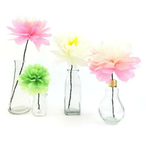 10er Set Hellrosa Seidenpapier Blumen PomPoms Party Geburtstag Dekoration