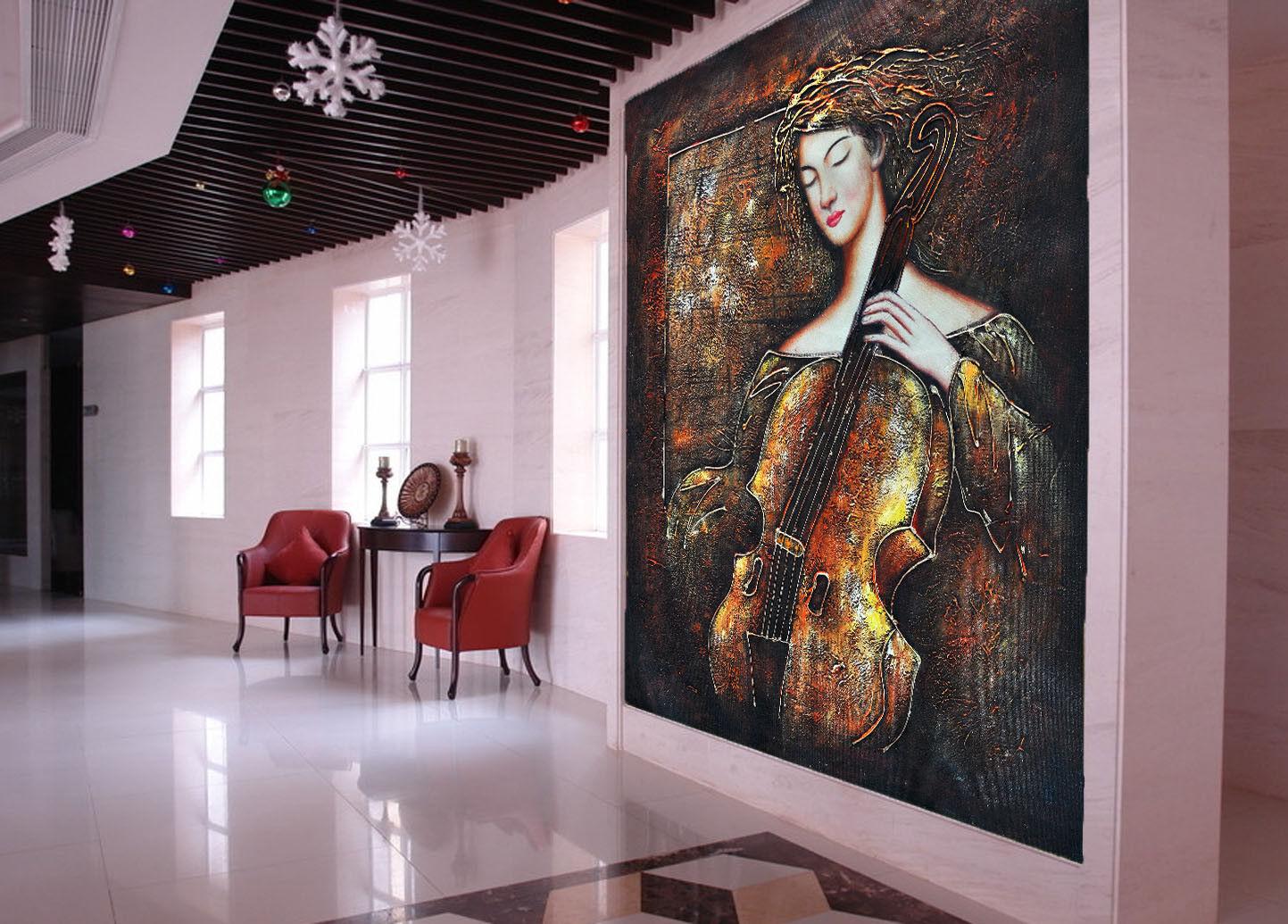 3D Violin Beauty 88 Wall Paper Murals Wall Print Wall Wallpaper Mural AU Kyra