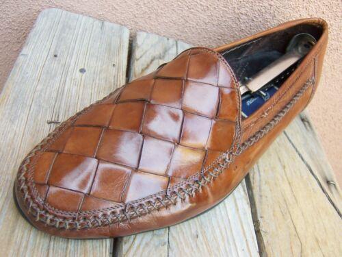 COLE HAAN Mens Casual Dress Shoe Cognac Woven Leat