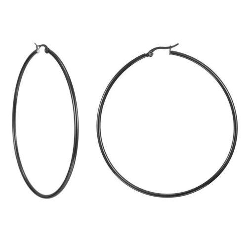 1Pair Simple Stainless Steel Gold\Silver\Black Hoop Earrings For Women 10mm-70mm