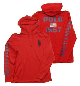 25c083fc Polo Ralph Lauren Men's Big Pony Red Pullover Graphic Hooded T-Shirt ...