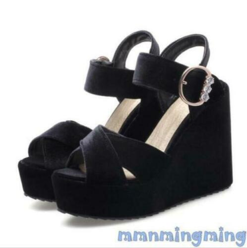 Women shoes Velvet High Platform Wedge heel Ankle Strap slingbacks shoes new