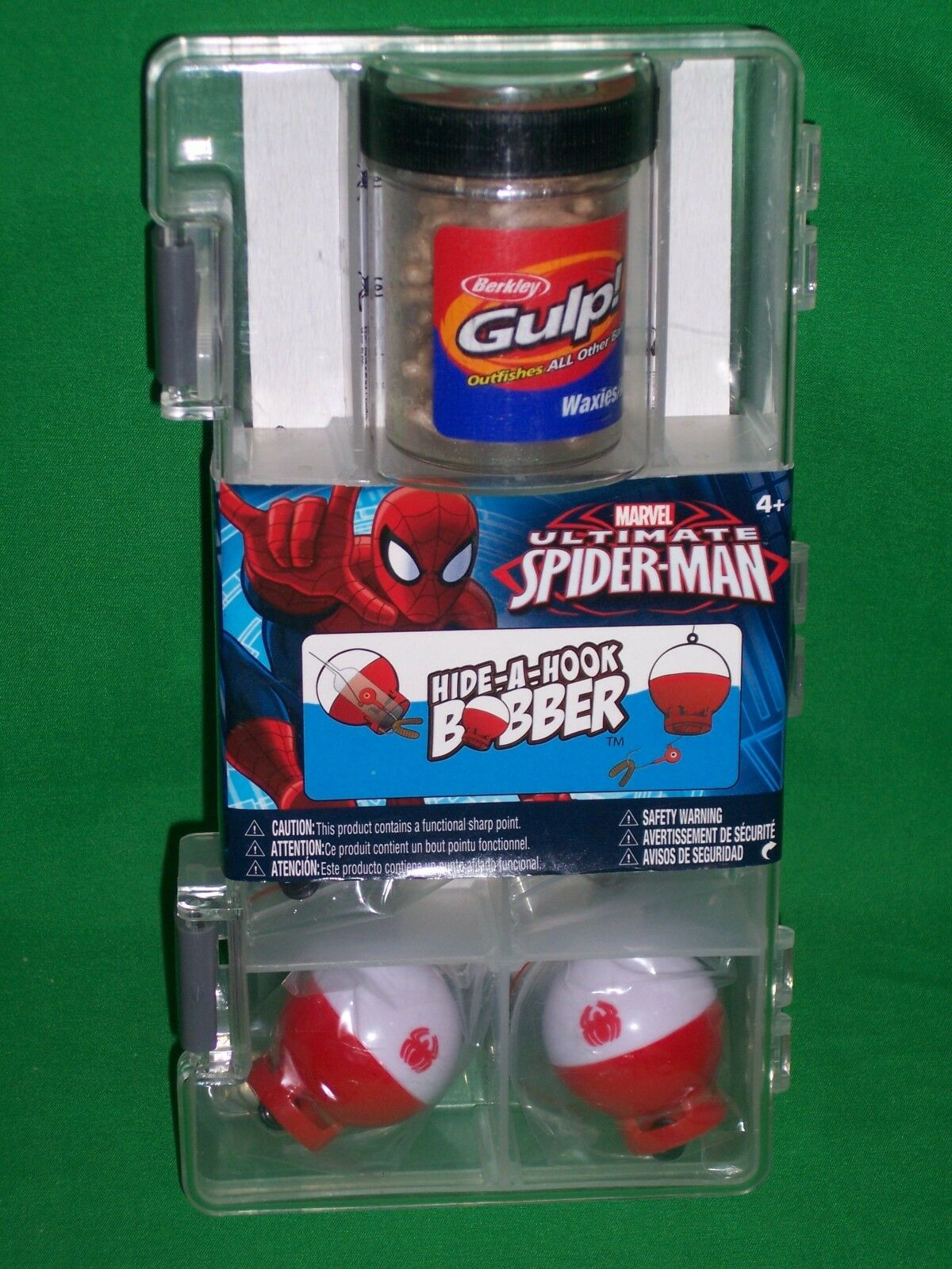 Shakespeare Marvel Spider-Man Hide-A-Hook Bobber Fishing Tackle Box Gulp Waxies