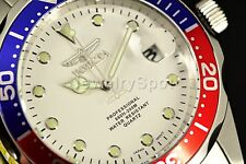 Invicta Men's Pro Diver 37.5mm Silver Tone White Dial Blue/Red Bezel SS Watch!!!