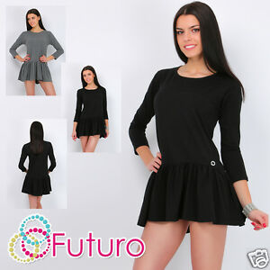 Ladies-Asymmetric-Tiered-Dress-3-4-Sleeve-Boat-Neck-Skater-Tunic-Size8-3-7m1679