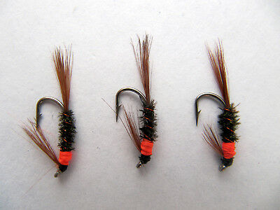 sizes10,12,14  AVAILABLE 3 x SOLDIER DABBLER FLY FISHING TROUT FLIES