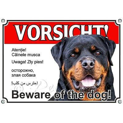 100% QualitäT Hundeschild - Rottweiler - Metallschild - Vorsicht In Sechs Sprachen